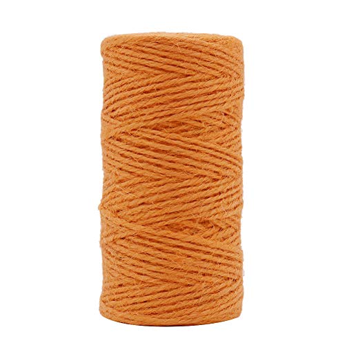 Tenn Well Jute Twine String, 335 Feet 2mm Jute Rope Gift Twine Packing String for Craft Projects, Wrapping, Gardening Applications (Orange)