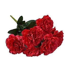 IUwnHceE Hydrangea De Color Rojo De La Flor Artificial Claveles Manojo De Simulación De Claveles Rojos Ramo De Fiesta De…