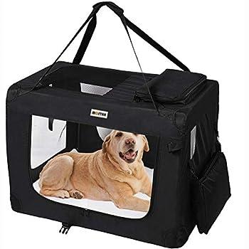 MC Star Sacs de Transport pour Chien Chat Portable Pliable Cage de Transport Animal Domestique L 70 x 52 x 52 cm, Noir