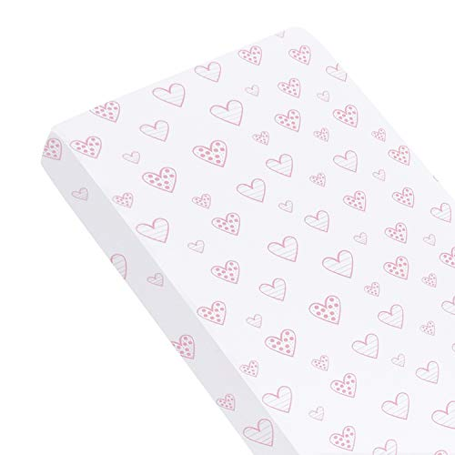 SPRINGSPIRIT Cot Bed Fitted Sheets(70x140cm), 100% Cotton Jersey Sheet for Standard Cot Mattress, Ultra Soft Toddler & Baby Bed Sheet, Pink Hearts Print for Girls