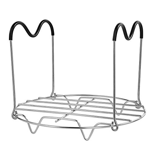 Steamer Rack Trivet with Silicone Handles Heat Resistant Compatible Accessories 6 Qt 8 Quart Stainless Steel Steaming Stand for Pressure Cooker Removal