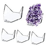 Hipiwe 5 Packs Acrylic Triangle Display Holder - Display Easel Stands for Geodes Rock Mineral Agate Fossil Coral, Clear Plastic Display Stands for Small Collectibles, Medium