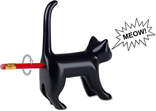 Bleistiftanspitzer Miauende Katze in schwarz