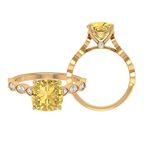 Anillo solitario citrino de 8,5 mm, D-VSSI, anillo de oro moissanita, anillo de compromiso de corte cojín, anillo solitario con piedra lateral, 14K Oro amarillo, Size:EU 56