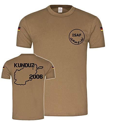 BW Tropenshirt Kunduz 2006 ISAF Bundeswehr Afghanistan Einsatz Kontingent Reservist Veteran Tropen T-Shirt #20389, Farbe:Khaki, Größe:Herren M