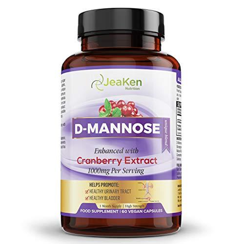D MANNOSE KAPSELN MIT CRANBERRY-EXTRAKT - Aus Reinem D Mannose Pulver - Natürliches Antibiotikum - Natürliche Blasenentzündung Medikamente - 60 Natural D Mannose mit Cranberry Kapseln Hochdosiert
