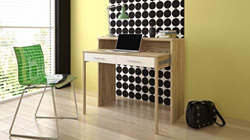 COMFORT Home Innovation - Ausziehbarer Schreibtisch, Studio-Konsolentisch, Computertisch, PC, 2 Schubladen, Oberfläche Eiche/weiß, Maße: 98,6x86,9x36-70 cm Tiefe