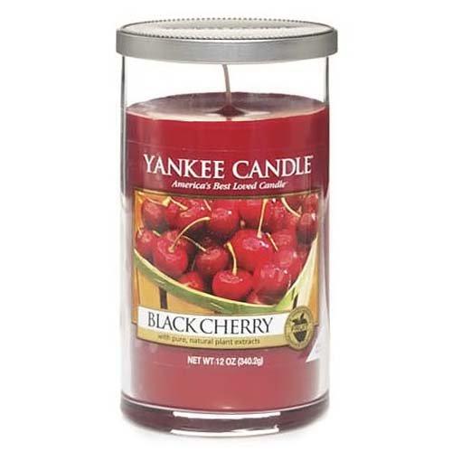 Yankee Candle 1221179e 14 cm Black Cherry Perfect Pillar Jar Candle, Rojo, Mediano