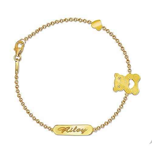 14k Solid Gold Adjustable Engravable Bear Id Bracelet for Baby,Child