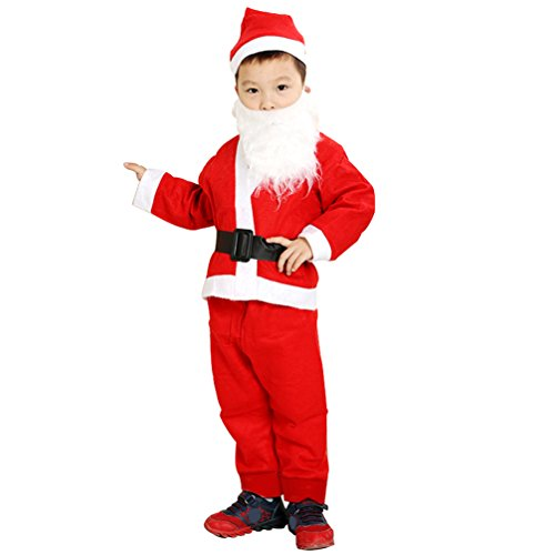 5 Pcs Children's Santa Costume, Xmas Claus Suit, Little Boys Christmas Outfit for Halloween Cosplay Pageant Party