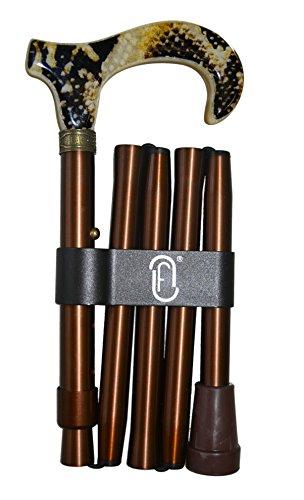 Finna Serpiente - Bastón plegable y regulable de aluminio con puño de metacrilato con tela