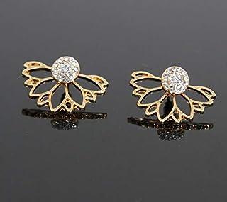 Earrings, 3 Pair Women Girls Hollow Lotus Shaped Diamond Stud Earrings (Color : Gold)