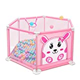 WYQ Parque Infantil Safety Play Yard para bebés y niños, Mesh Safety Playards (Baby Playpen, Mini Basketball Hoop (Color : Pink, Tamaño : 140x66cm)