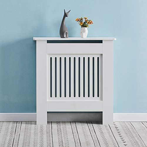 OFCASA Cubierta del radiador gabinete moderno blanco pintado vertical del listón del gabinete del radiador del gabinete de calefacción para el hogar sala dormitorio pequeño 78*19*82cm