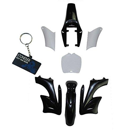 Stoneder, set di 7 pezzi parafango carenatura in plastica ad alta resistenza, per mini moto da cross cinesi a 2 tempi 47 cc 49 cc Apollo Orion, colore nero