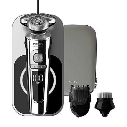 Philips Serie 9000 Prestige SP9863/14 - Afeitadora eléctrica para hombre con bandeja de carga Qi, sensor de densidad de barba, 3 modos, seco/húmedo, con perfilador de barba y funda premium, gris