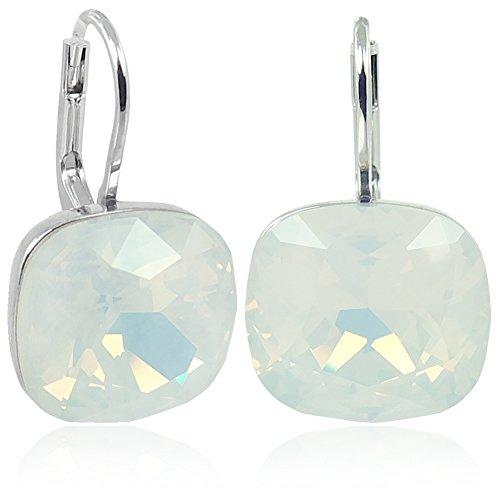 Ohrringe mit Kristallen von Swarovski® Silber White Opal NOBEL SCHMUCK