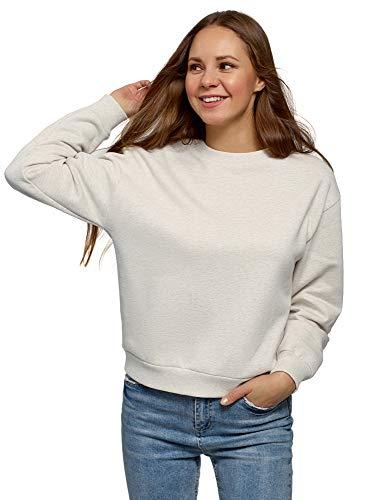 oodji Ultra Mujer Suéter con Tejido Interior de Felpa, Blanco, ES 42 / L