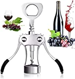 Wine Opener, Zinc Alloy+Silicone Premium Wing Corkscrew Wine Bottle Opener, Waiters Corkscrew Cork and Beer Cap Bottles Opener Remover, Used in Kitchen Restaurant Chateau and Bars