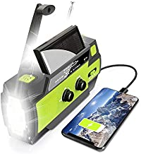 ?2021 Upgraded? Emergency Solar Hand Crank Portable Weather Radio, with AM FM NOAA, 3 LED Flashlights, Motion Sensor, Reading Lamp, SOS Alarm, 4000mAH Rechargeable Battery USB Charger (Green)