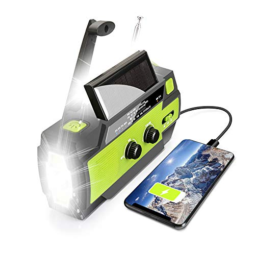 【Upgraded】 Emergency Solar Hand Crank Portable Weather Raido, with AM/FM/WB, 3 LED Flashlights, Motion Sensor&Reading Lamp, SOS Alarm, 4000mAH Rechagable Battery USB Charger for Cell Phone(Green)