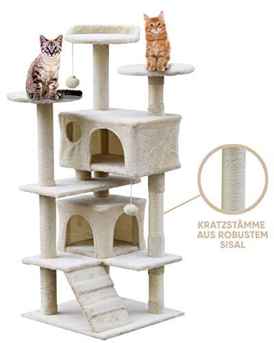 weico Premium Katzen Kratzbaum mit Sisal - Kletterbaum mit Kuschel und Spielmöglichkeiten - Katzenkratzbaum in beige - Spielbaum mit Plattformen und Spielmöglichkeiten