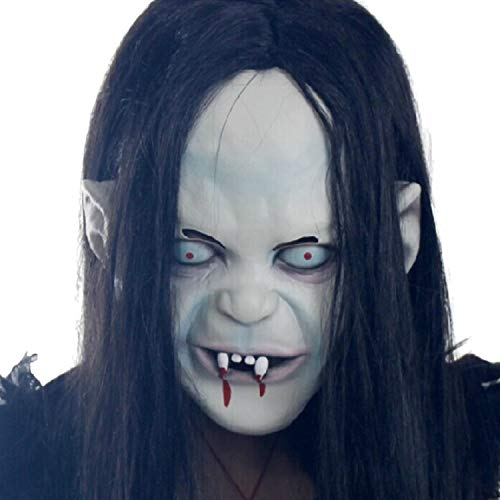 Wezest Halloween Horror Grimace Masker Emulsie Huid met Haarmasker Halloween Hoofddeksels Cosplay Ghost Dance Party Horror Hoofddeksels Enge Grimace