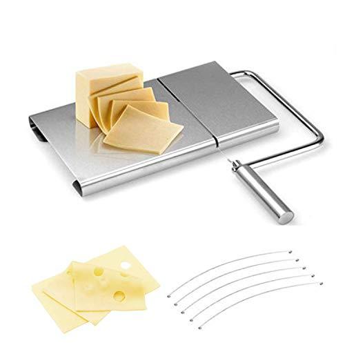 Edelstahl-Käseschneider Schneider mit Drähte und Schneidebrett, Hartkäsefleisch Handschneiden für den gewerblichen Heimgebrauch, mit 5 Ersatzdrähten