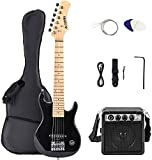 LAGRIMAChild30 Inch Electric Guitar Starter Kit with 5W Amp, Case and Accessories Pack Beginner Starter Package (30, Black)