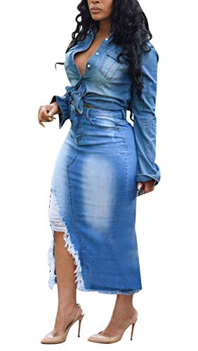 LKOUS Womens Casual Distressed Ripped Denim Button Jean Midi High Waisted Pencil Skirt