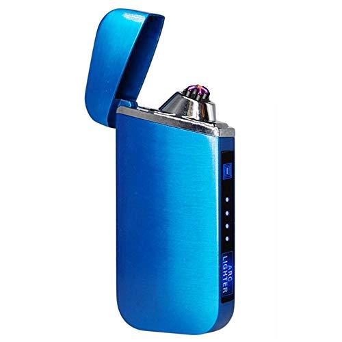 USB eléctrico encendedor de dedos impresión táctil fuego plasma doble arco encendedor a prueba de viento encendedor de cigarrillos de metal 319Blue