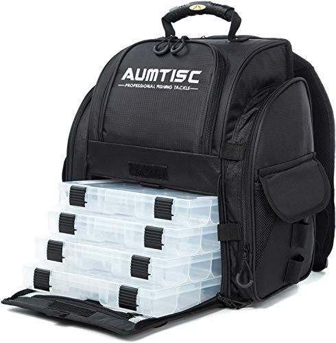 AUMTISC Angelrucksack Fishing Rucksack Große Tackle Bag mit Regenschutz und 4 Tabletts Tackle Box Angeltasche(Schwarz)