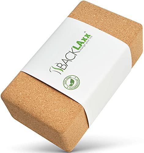 BACKLAxx Bloque Yoga Corcho 100% sostenible - Taco de Yoga Apto para Piel y ecológico - Bloques de Yoga Corcho, Ladrillo Yoga Corcho, Cubo Yoga