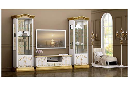 Interdesign24 Barock Wohnwand in Weiß/Gold Hochglanz 3-Teilig
