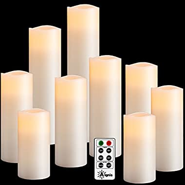 Flameless Candles Set of 9(H4 5 6 7 8 9 xD2.2 ) Battery Candles Dancing Flame Effect Include 10-key Remote Timer by Aignis(Batteries not included)