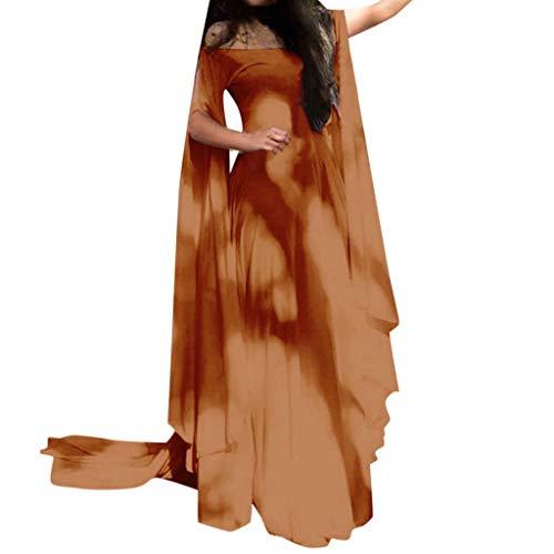 Xmiral Damen Kleid Retro Hohe Taille Knöchellang Cosplay Kostüm Langarm U-Boot-Ausschnitt Tanzkostüm Große Größe Schlaghülse Fee Verein Kleider(Orange,S)