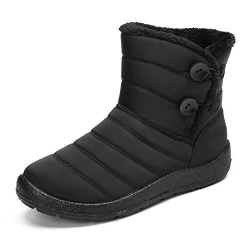 gracosy Schneestiefel für Damen, Winterstiefel, Schneestiefel, Schlupfschuh, wasserdicht, Outdoor-Sneakers, seitlicher Reißverschluss, Fellfutter, warme Schuhe, (Black-C), 39.5 EU