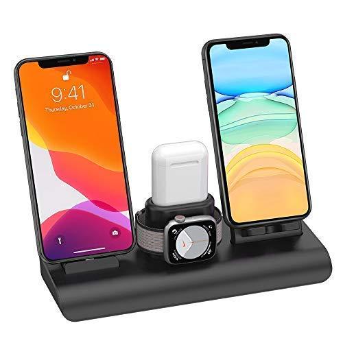 SIMPFUN Kabelloses Ladegerät, 4 in 1 Wireless Ladestation Kabelloses Ladegerät für iPhone iWatch Airpods mit 3 USB-Geräten 7.5 W für iPhone11/Pro Max/XS/XR/X/8(Kein iWatch-Ladekabel)