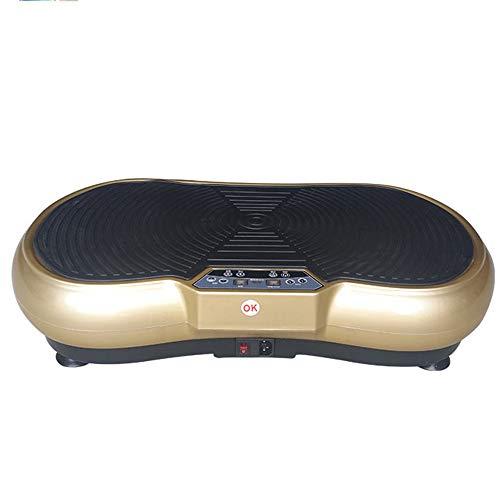 WMNRNYD Fitness Vibrationsplattform, Vibrationsplattform Whole Body Vibration Maschine Verrückte Sitz Vibrationsplatte 99 Levels mit Fernbedienung und Widerstand-Bänder,Gold