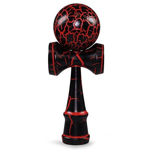 Ganzoo Kendama aus echtem Buchen-Holz, Original Japanisches traditionelles Holz-Spielzeug, Modell: schwarz/rot oberflächenlackiert, Kugel-Spiel, Geschicklichkeits-Spiel
