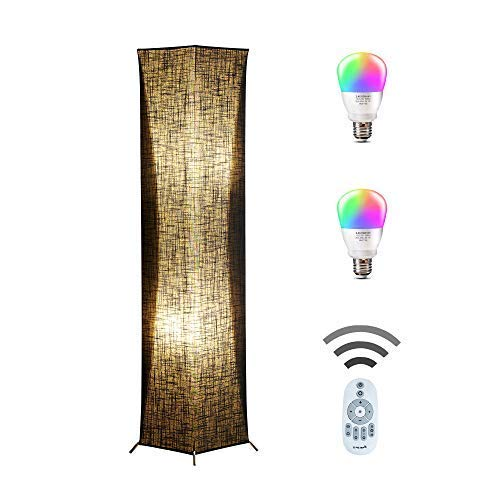 Floor Lamp, CHIPHY Modern Standing Lamp, Color Changing and Dimmable Smart RGB Bulbs, Black Linen Shade and Romote Control, Square Light for Living Room, Bedroom and Office