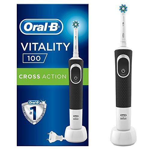 Oral-B Vitality100 Brosse à Dents Électrique Rechargeable par Braun, 1Manche Noir, 1Brossette CrossAction