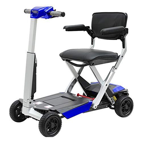 LIYIN Scooter de Movilidad eléctrico Plegable de 4 Ruedas para Ancianos y discapacitados, Scooters eléctricos compactos portátiles, Soporte de 125 kg de Peso