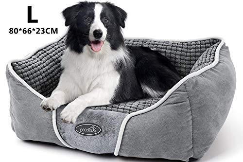 Pecute Hundebett Haustierbett für Katzen und Hunde Rechteck Ultra Weicher Plüsch luxuriöse Haustier-Schlafsack Maschine waschbar L (80*66*23 cm)