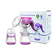 Manual Breast Pump with Lid for Breastfeeding Using only 100% Food Grade, BPA-Free Breastpump Materials for Hands Free Breast Feeding
