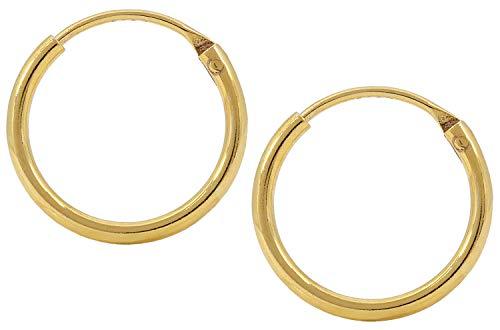 Jukserei Damen Ohrringe Creol Earring Gold - Creole Silber vergoldet - JUK-ESM101g-S