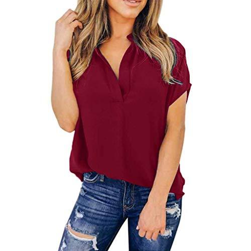 ITISME Damen T Shirt Blusen, Einfarbig V-Ausschnitt Kurzarm Knopf Tasche Hemd Mehrere Größen und Mehrere Farben 2020 Sommer Elegante Causal Business Bürodame Top Oberteile