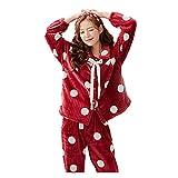 BuFanRenm camisón, Pijamas de Invierno para Mujer, Conjunto de Pijamas Gruesos deFranela, Manga Larga, Servicio aDomicilio, cárdigan, Pijamas,Traje XL BYTN5903