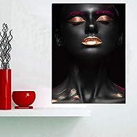 ヌードのアフリカの女性のキャンバスのポスターとプリントのインドの黒と金の油絵Cuadros壁のリビングルームの写真-50x70cm(フレームなし)