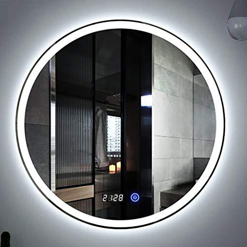 LED badkamer armatuur wandmontage rond met touch schakelaar wit/warm wit + tijd/ontluchting decoratieve spiegel - diameter 60 cm, 70 cm